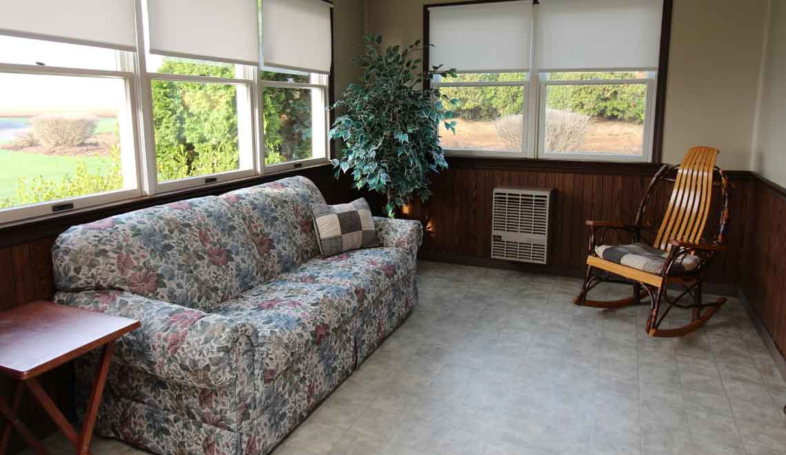 sun porch with sofa bed