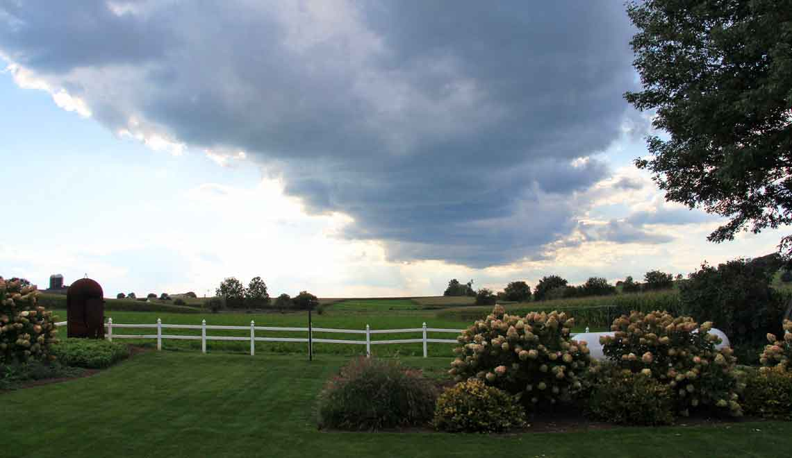 backyard with view of Amish farmland